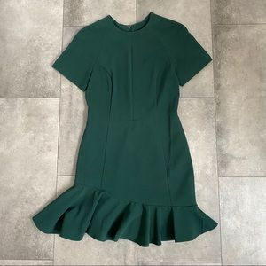 ASOS hunter green short sleeve ruffle hem dress!